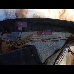NYDJ dark wash jeans, size 8, ankle cropped.